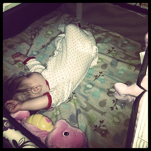 Just like her daddy, she is all over the bed when she sleeps
