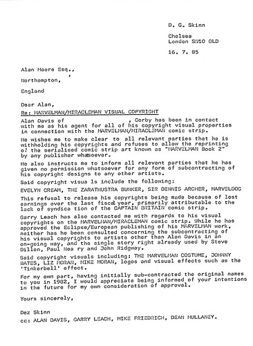 Letter to AM re Visual Copyrights 1985 Amended re Addresses