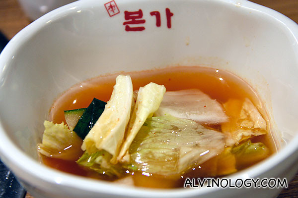 Water kimchi for those who cannot take too spicy food