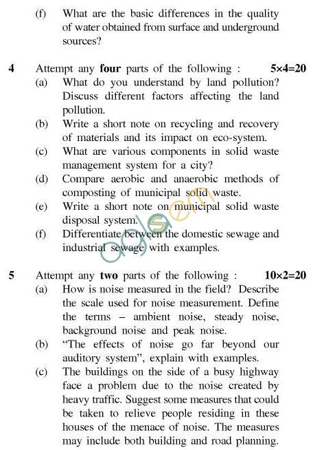 UPTU B.Tech Question Papers - CE-033-Environmental Pollution Control