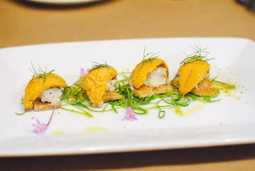 """RICCI DI MARE """"IN PORCHETTA"""" sea urchin, crackling, lemon, rosemary, wild fennel, lardo"""