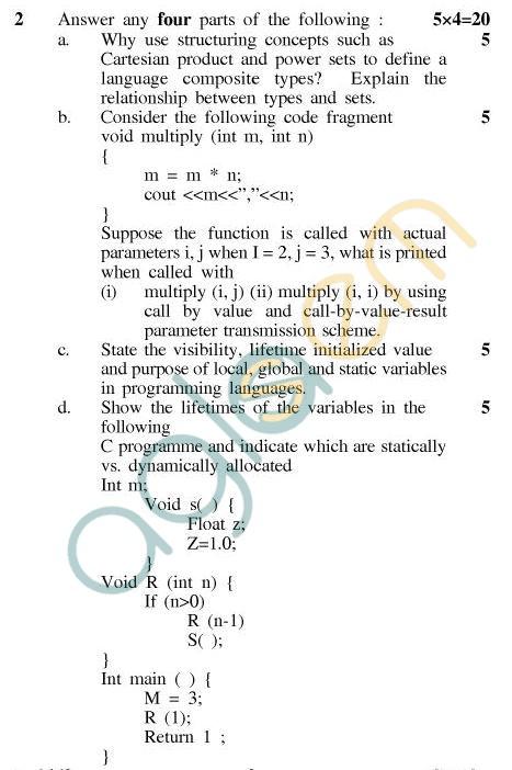 UPTU MCA Question Papers - MCA-204 - Paradigms of Programming