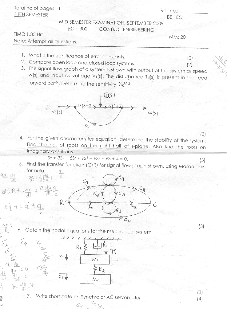 NSIT: Question Papers 2009 – 5 Semester - Mid Sem - EC-302