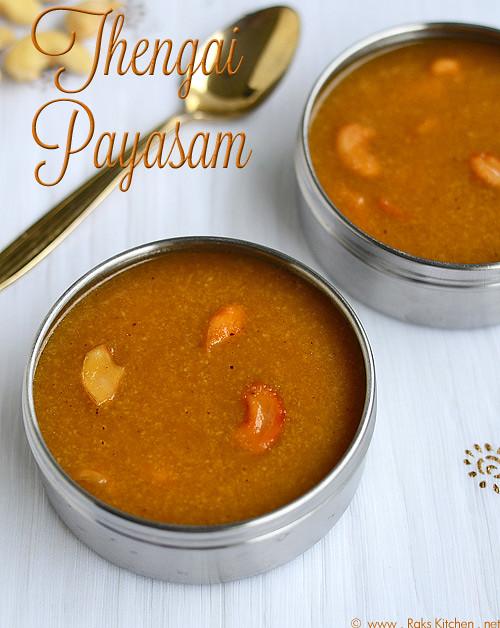 thengai payasam tamil, தேங்காய் பாயசம்