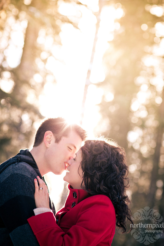 Winter Engagement Session Sunflare Kiss - Prince George BC