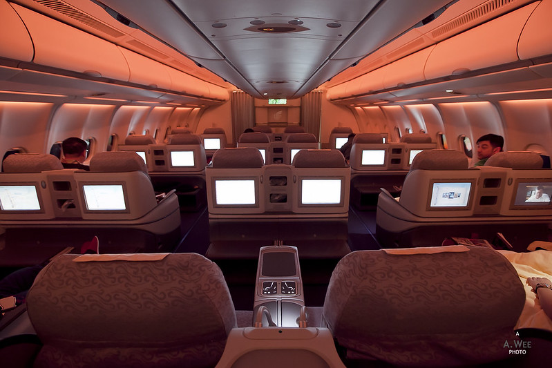 Business Class Cabin Dimmed for Comfort