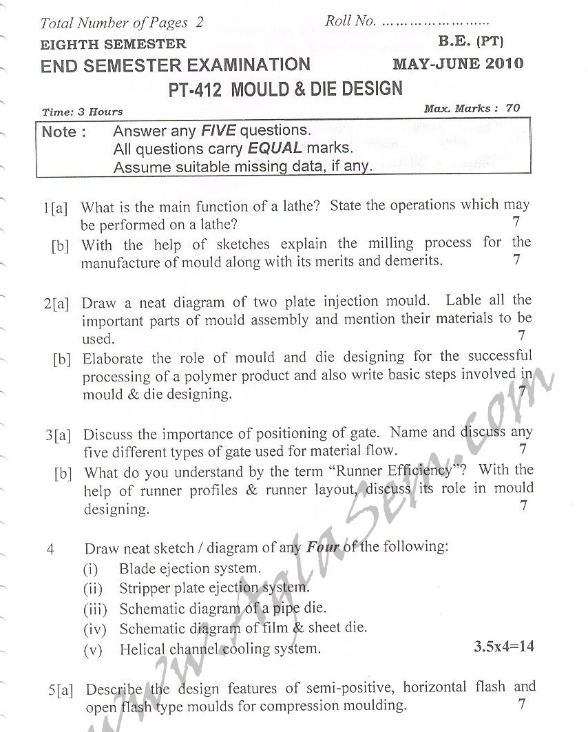 DTU Question Papers 2010 – 7 Semester - Mid Sem -  PT-412