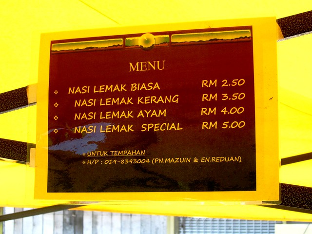 nasi lemak prices