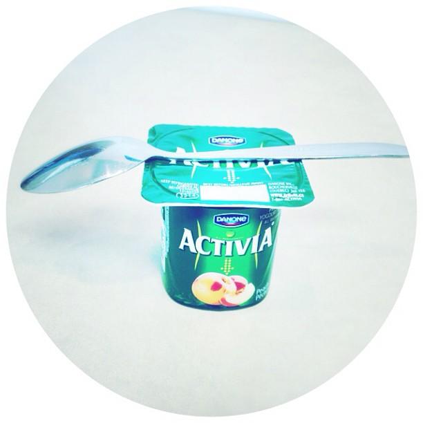 Apr 18 - snack time! {I love my yogurt} #photoaday @missyfowler47 #yogurt #activia #peach