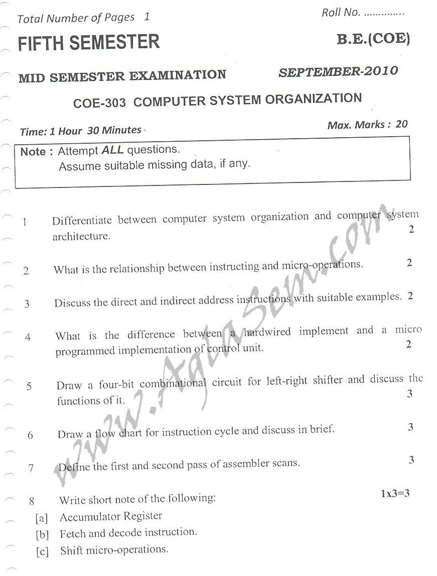 DTU Question Papers 2010 – 5 Semester - Mid Sem - COE-303