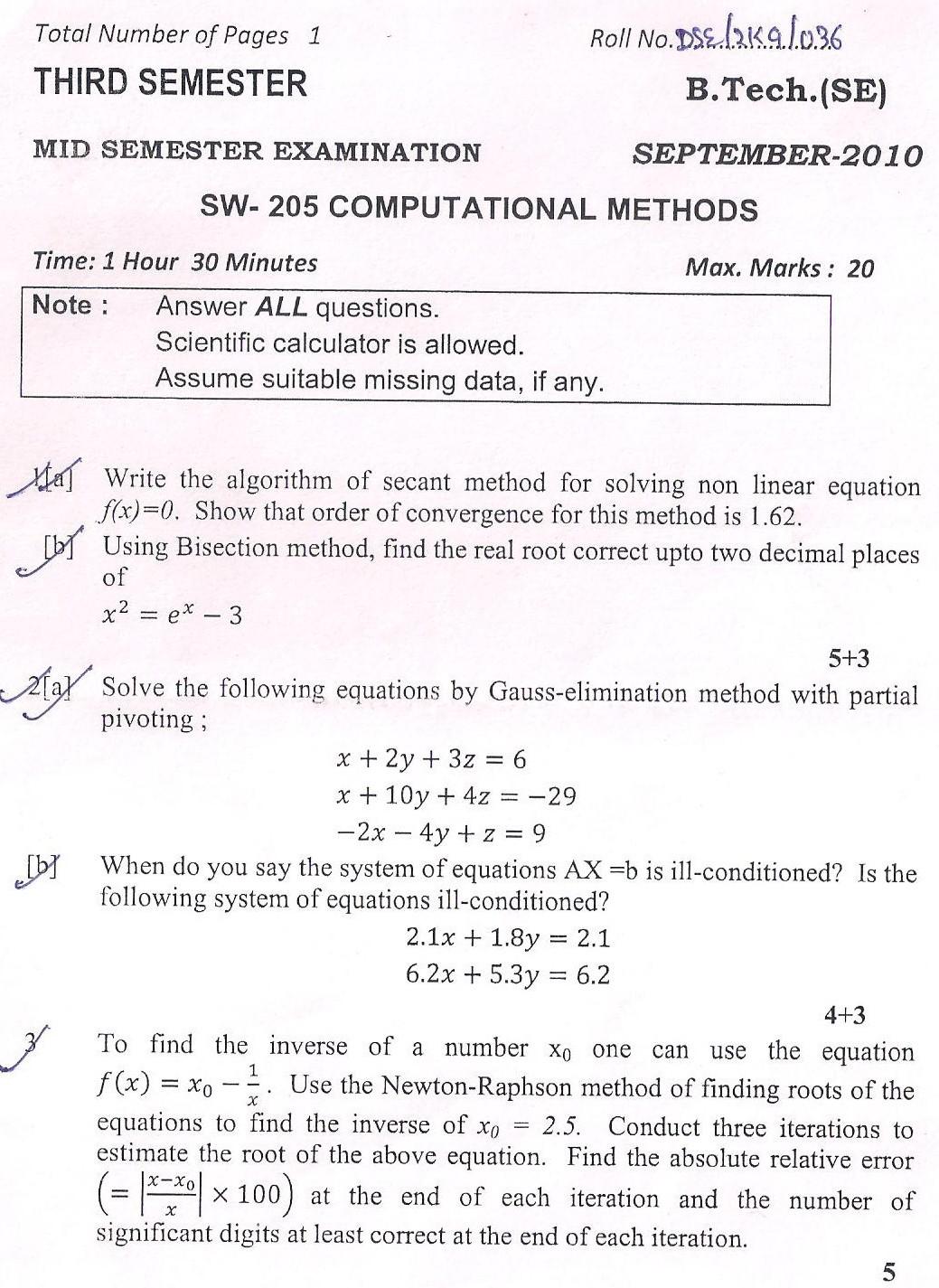 DTU Question Papers 2010 – 3 Semester - Mid Sem - SW-205
