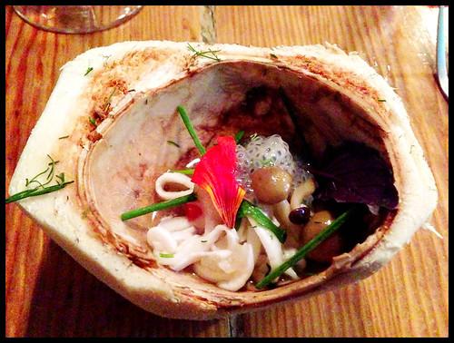 jellyfish tom yum ka, young coconut, galangal sorbet, basil seeds