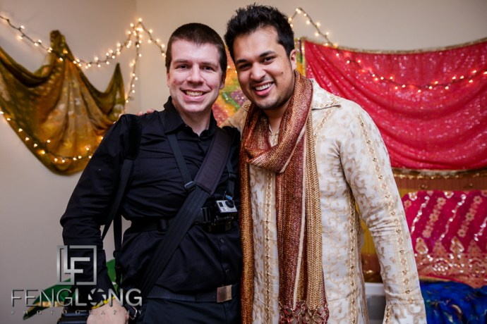 Groom and photographer Zachary Long on mehndi night