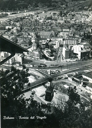 postcard - bolzano - panorama dalla funivia del virgolo - 1962