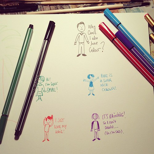 Testing my brand new super thin colour pens with mini people..
