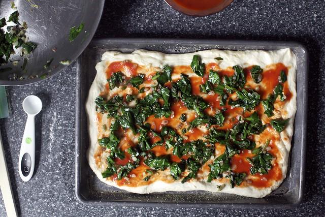 just thin dough, tomato puree, ramps