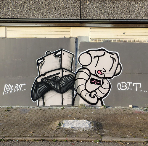 LiskBot and Obit, Heygate Estate, Southward, South London - April 2013