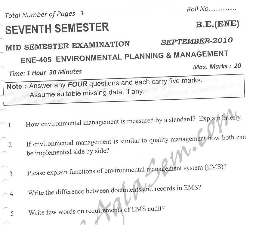 DTU Question Papers 2010 – 7 Semester - Mid Sem -  ENE-405
