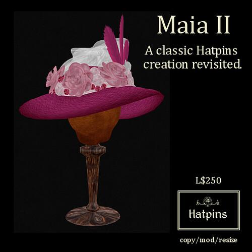 Hatpins - Maia II - Fuchsia Straw Hat