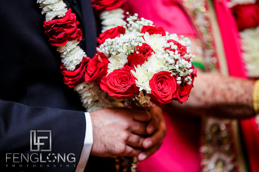 Close up of groom's wedding bouquet at Indian wedding ceremony