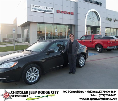Dodge City of McKinney would like to say Congratulations to Candace Gresham on the 2013 Chrysler 200 by Dodge City McKinney Texas