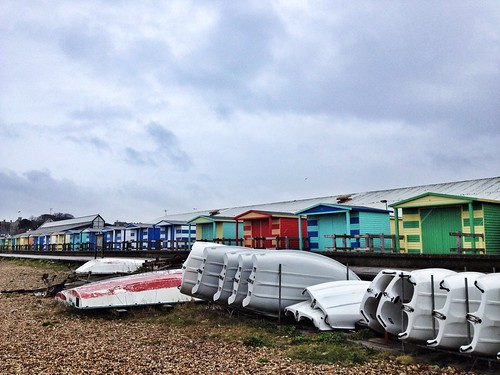 Colourful beach huts, Rainy Day at Whitstable, Kent