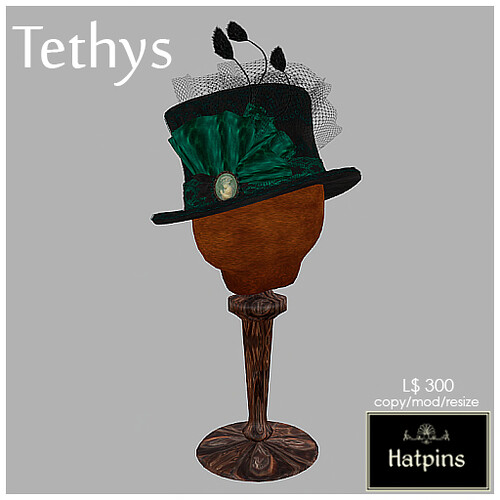 Hatpins - Tethys Top Hat - Jade (new colour)