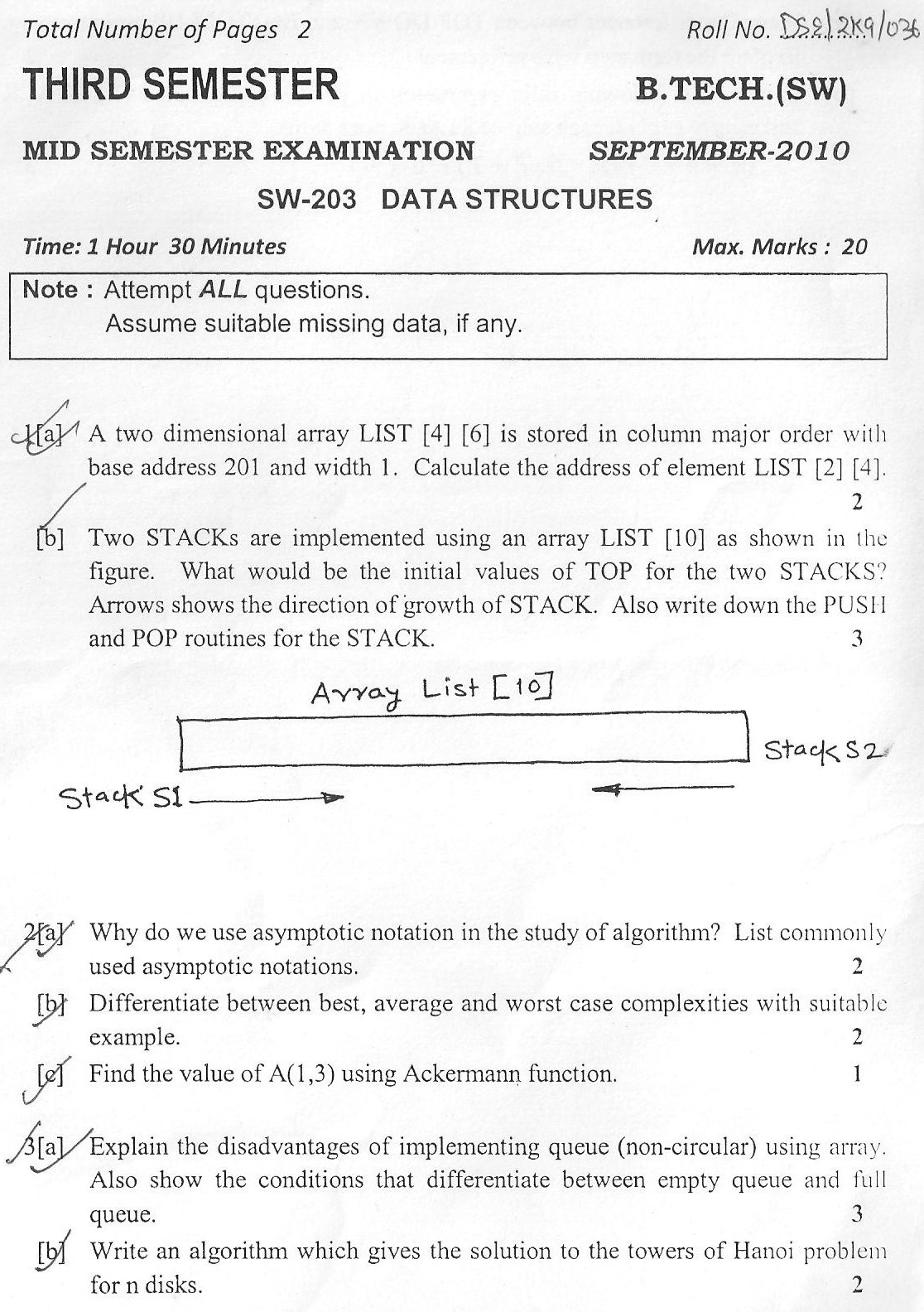 DTU Question Papers 2010 – 3 Semester - Mid Sem - SW-203