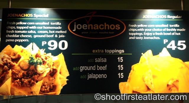 Joe Nachos menu