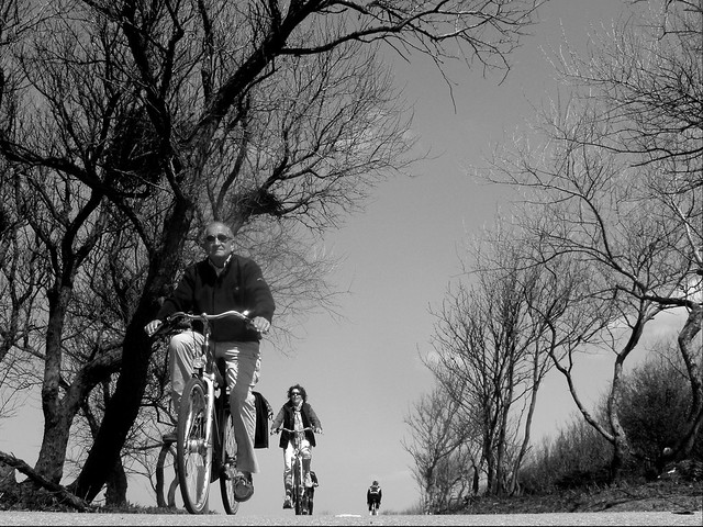 Cyclists at the dunes, Zuiderstrand, The Hague.