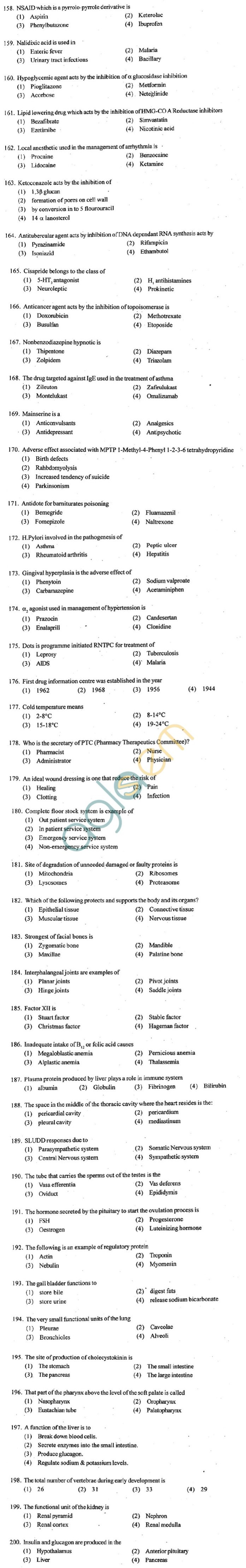 ECET 2012 Question Paper with Answers - Pharmacy