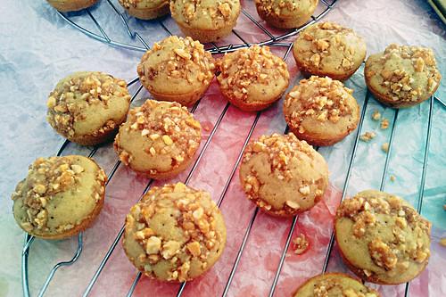 Dried papaya muffins with cashew crumble