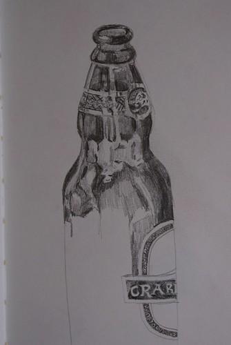 Pencil sketch of beer bottle