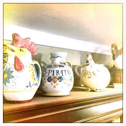 Mar 31 - stuff {stuff on top of my buffet - pitcher collection} #fmsphotoaday #pitchers #chickens