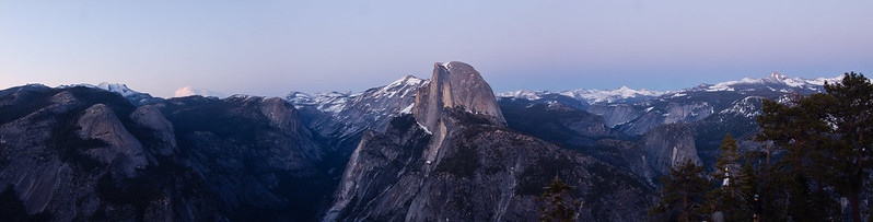 Panorama view of Half Dome at dusk, Glacier Point, Yosemite National Park