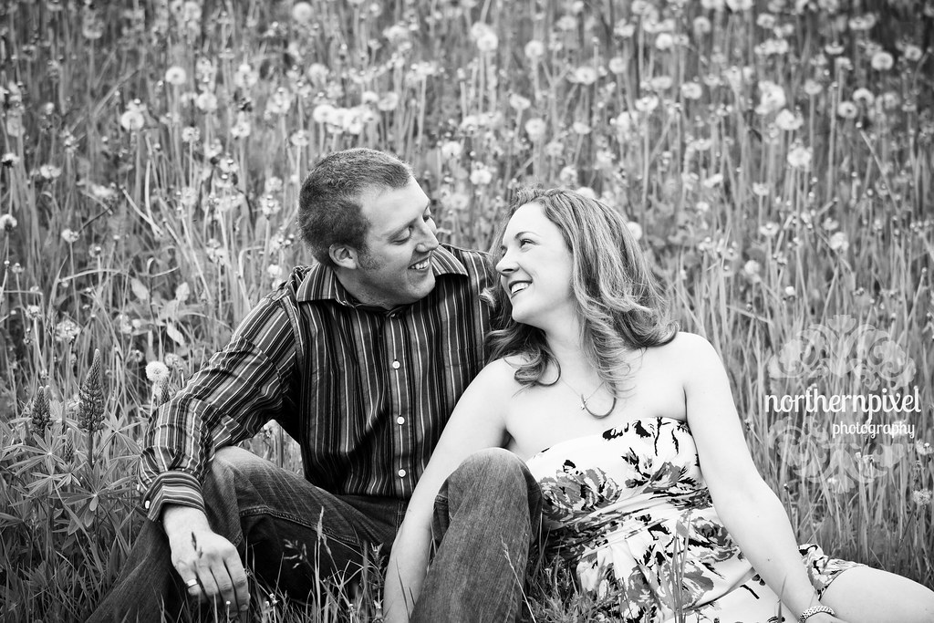 Engagement Photography field dandelions flowers farm countryside