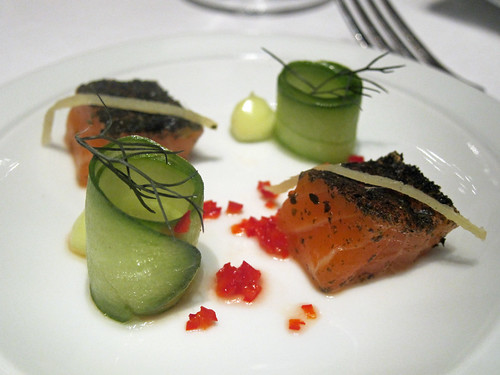Cured Salmon with Pickled Chilli and Wasabi Mayonnaise