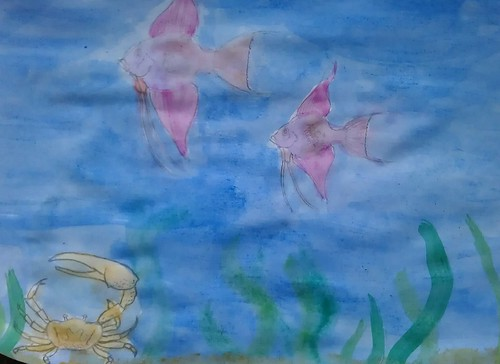 Skye's underwater sketch and watercolour