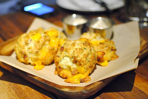 bacon cheddar buttermilk biscuits, maple butter