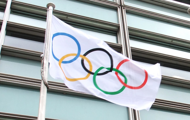 Olympic flag flying outside Eland House in London (CC BY-ND 2.0)