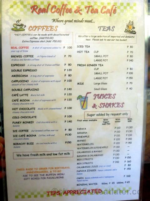 Real Coffee's menu