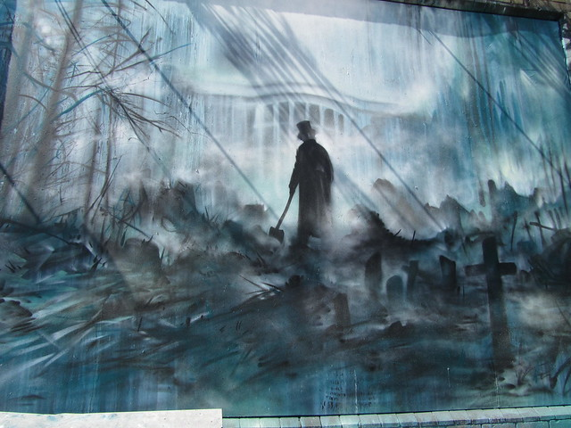 """Abraham Lincoln: Vampire Hunter"" murals in Shoreditch"