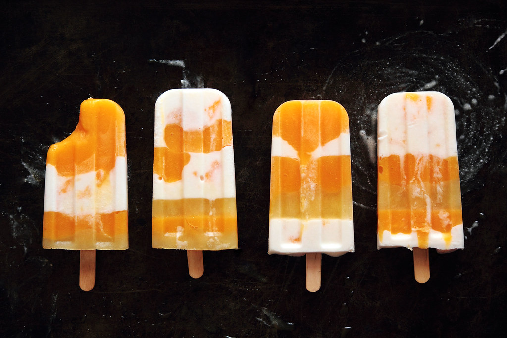Mango Coconut Striped Popsicles