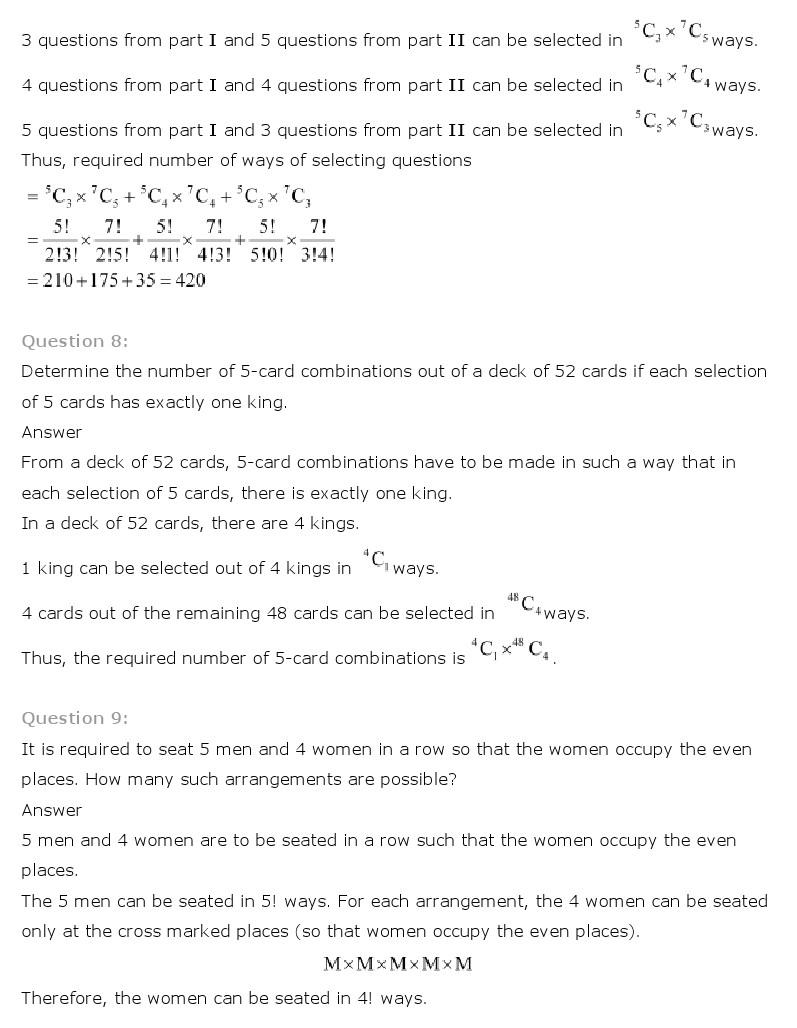 hight resolution of Maths Ch 7 Permutation and Combinations Class 11 NCERT Solutions - NCERT  Books