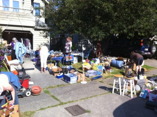 Sunny garage/sidewalk sale
