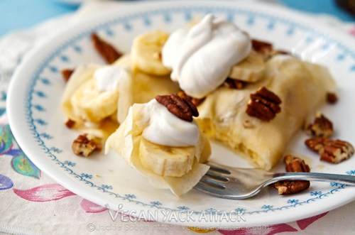 Banana Coconut Cream Crepes - Vegan crepes filled with banana slices and topped with easy-to-make Coconut whip! Perfect for brunch.