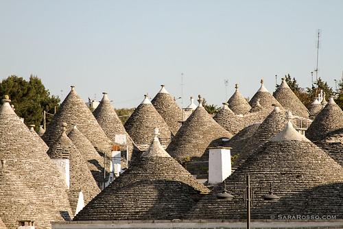 Coned trulli rooftops, Alberobello, Puglia