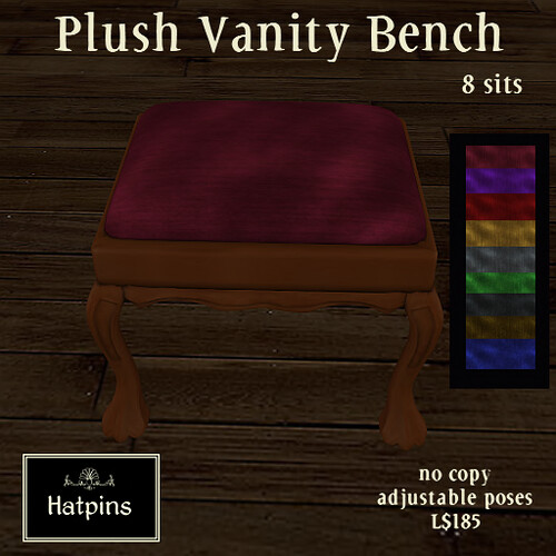 Plush Vanity Bench Advert