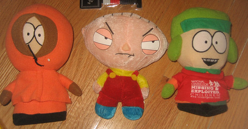 20120623 - yardsale booty - 2 - Kenny, Stewie, Kyle plushies - IMG_4433