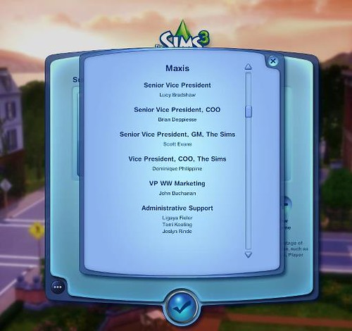 The Sims 3 Credits...